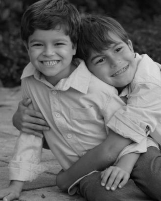 8x10 boys hug b&w